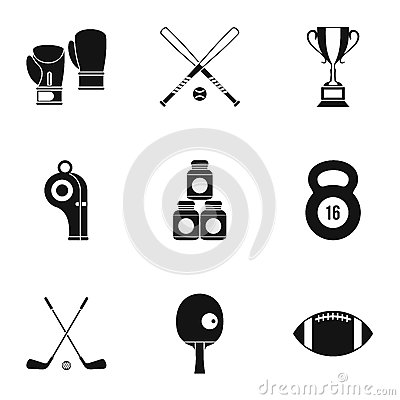 Free Sports Stuff Icons Set, Simple Style Royalty Free Stock Photo - 85900365