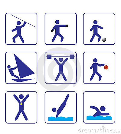 Sports stylize icons set one in vector