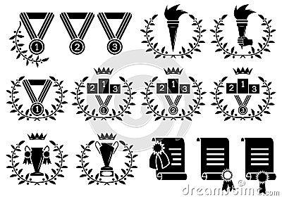Sports symbol set (b/w icons)