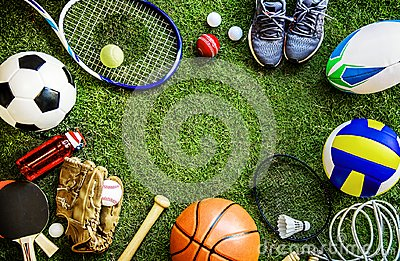Sports tools balls shoes ground Stock Photo
