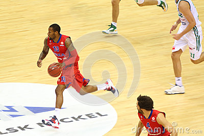 Sportsman from CSKA Moscow (Russia, in red) Editorial Stock Photo