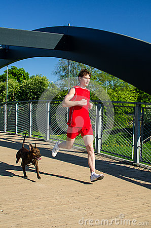 Sportsman and dog running
