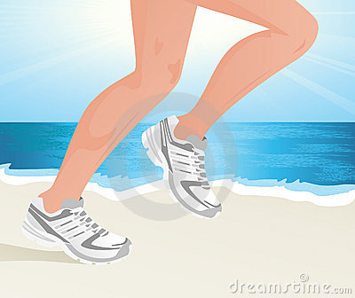 Sportsman running on the beach