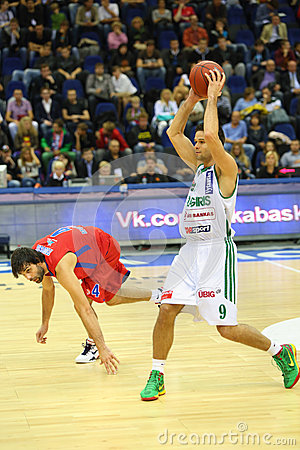 Sportsman from Zalgiris team prepares to throw basketball Editorial Image