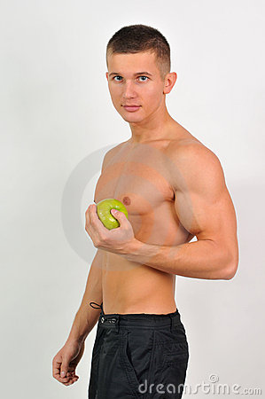 Sportsmen with an apple