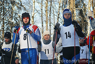 Sportsmen prepare for start Editorial Photography