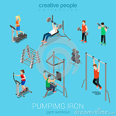 Free Sportsmen Pumping Iron And Exercise In Gym Icon Set Royalty Free Stock Photos - 52070328