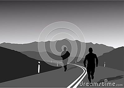 Sportsmen running on mountain