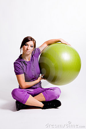 Sportswoman With A Fitness Ball