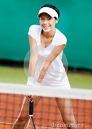 Sportswoman at the tennis court