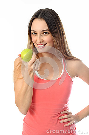 Sporty Aerobics Girl offering apple