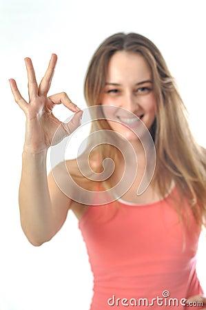 Sporty Aerobics Girl Signing OK