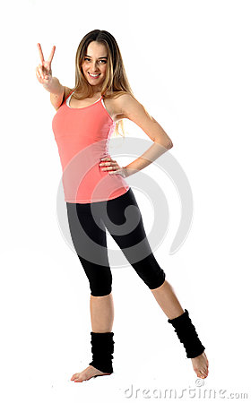 Sporty Aerobics Girl Signing Victory