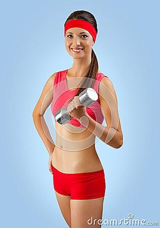 A sporty girl training