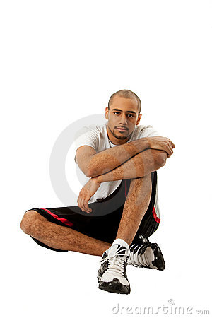 Sporty guy sitting