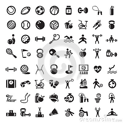 Sporty i fitnes ikony ustawiać