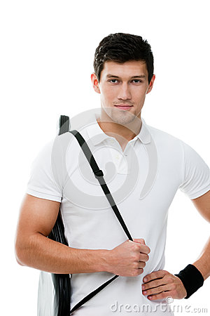 Sporty man with black cover for tennis racket
