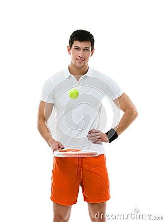Sporty man playing tennis