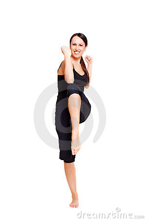 Sporty smiley woman doing aerobics