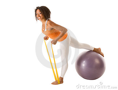 Sporty stretching with resistance bands and ball