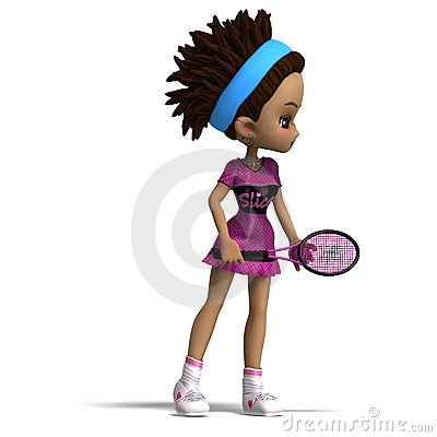 Sporty toon girl in pink clothes plays tennis