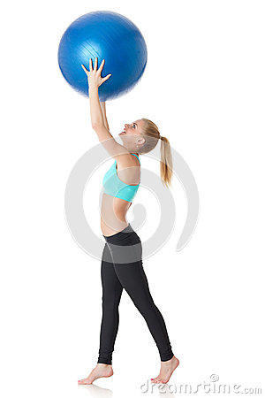 Sporty woman with gymnastic ball