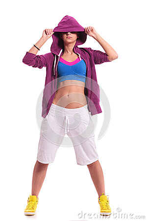 Sporty woman hiding her eyes