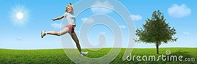 Sporty woman jump on landscape