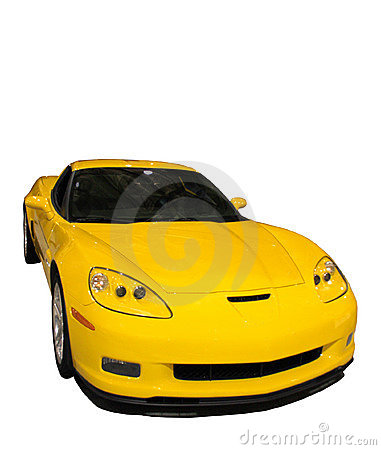 Free Sporty Yellow Car Isolated Over White Stock Image - 510371