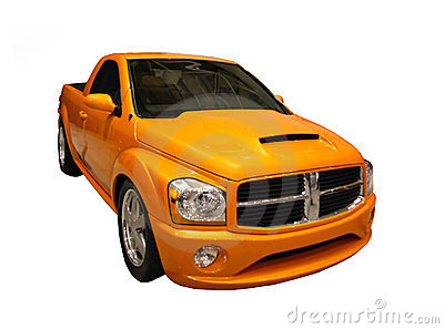 Sporty Yellow Dodge Ram Pickup Isolated Over White