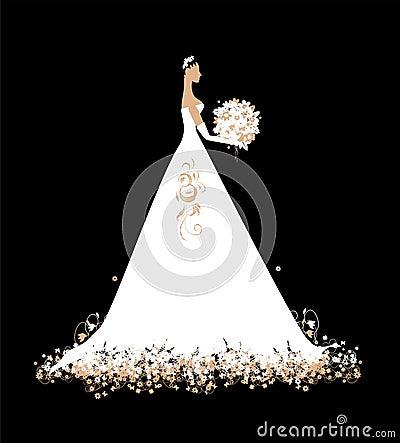 Sposa nel bianco di vestito da cerimonia nuziale con il mazzo