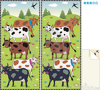 Spot ten differences visual puzzle - cows