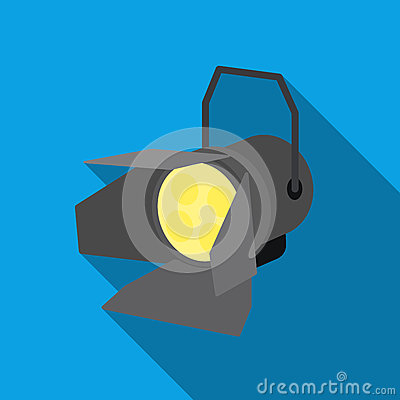 Spotlight icon in flat style isolated on white background. Light source symbol stock vector illustration Vector Illustration