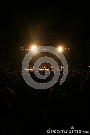 Spotlight over Crowd in concert