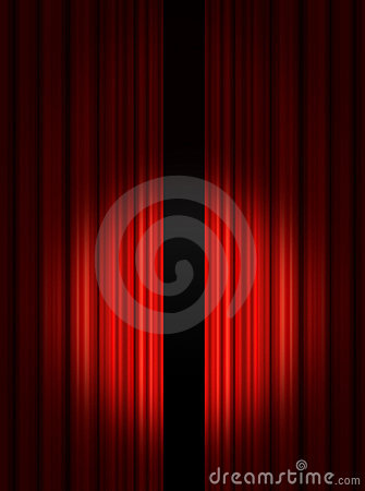 Spotlight on red Stage Curtains