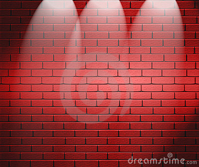 Spotlights On Brick Wall
