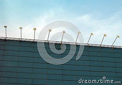 Spotlights, factory exterior