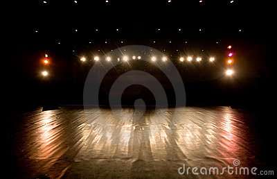 Spotlights on a stage