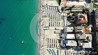 SPOTORNO, ITALY - JULY 7, 2018: aero Panorama of Spotorno village, Seaside Spotorno, Mediterranean sea, Liguria, Italy. Summer hot day stock video footage