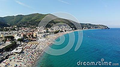 SPOTORNO, ITALY - JULY 7, 2018: aero Panorama of Spotorno village, Seaside Spotorno, Mediterranean sea, Liguria, Italy. Summer hot day stock footage