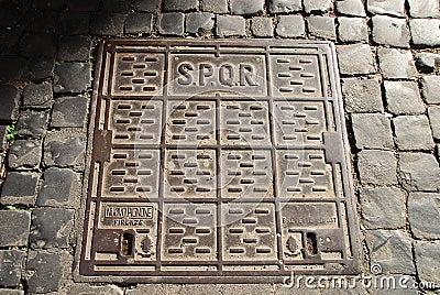 SPQR manhole cover