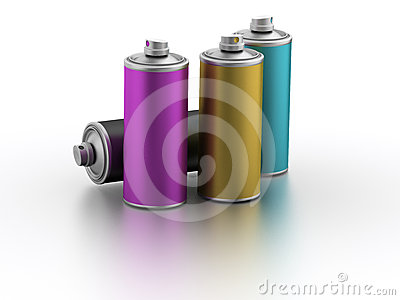 Spray cans with CMYK color