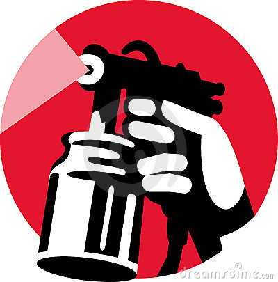 Spray gun with hand holding