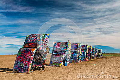 Spray Painted Cars In The Desert Stock Images Image