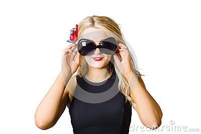 Spray tan girl wearing goggles. Tanning beauty