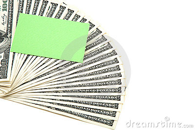 Spread of cash with blank card for text