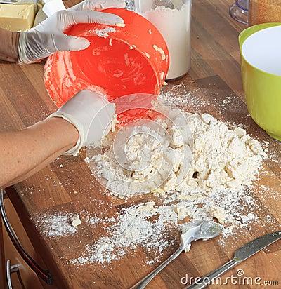 Spreading Dough on the Worktop
