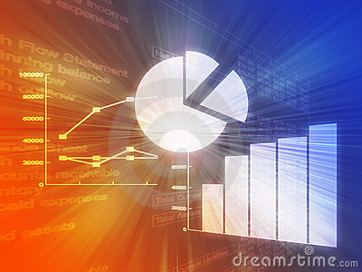 Spreadsheet business charts illustration