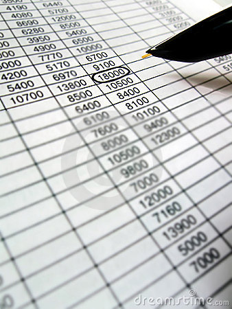 spreadsheet, financial data analysis, black pen