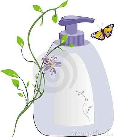 Sprig, butterfly and packing with soft soap
